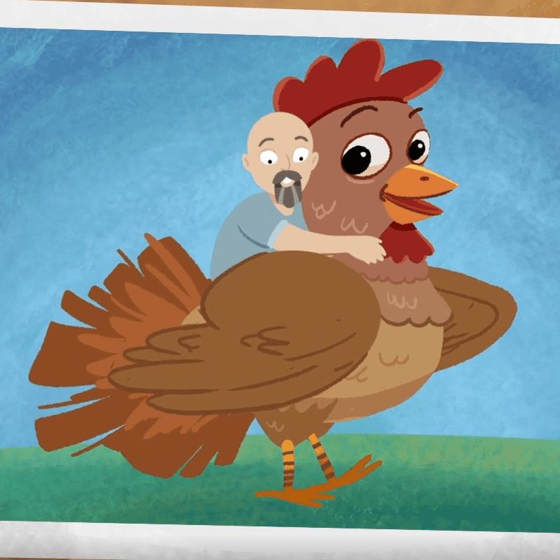 Daddyman riding a chicken