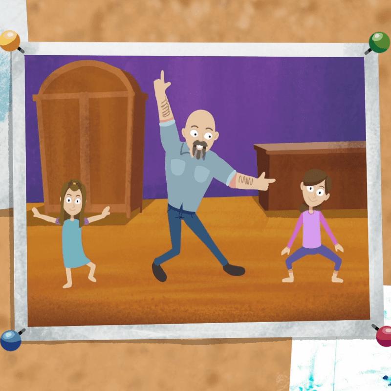 Daddyman and girls dancing